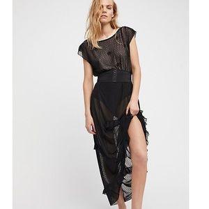 FREE PEOPLE Sheer Corset Maxi Slip Dress